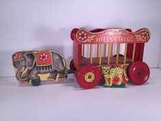 Hey, I found this really awesome Etsy listing at https://www.etsy.com/listing/262252932/vintage-hills-circus-elephant-draw-wagon