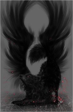 Dark wolf with wings