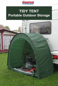"Quick and easy instant storage space! Sets up in just a couple of minutes with no tools required. The Tidy Tent™ stands 67""h x 80""w x 32""d. Features zippered front closure to secure contents. Easily stored in carry bag when not in use; making it extremely portable - so you can take camping, to the cottage, or tailgate events!"
