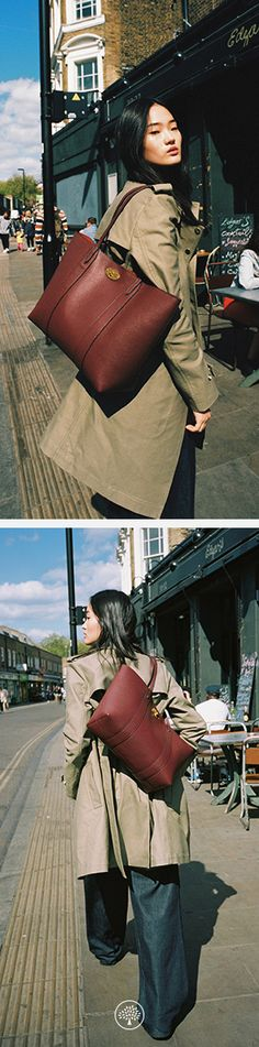 Bayswater Tote Bag in Burgundy Leather and the Denise Trench Coat in Khaki Canvas at Mulberry.com.