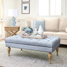 Hamptons Style Bedrooms, Hamptons Style Decor, The Hamptons, Hamptons House, Hill Interiors, Upholstered Ottoman, Living Room Carpet, Living Rooms, Home Rugs