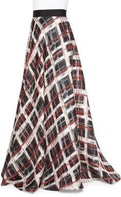 Carmen Marc Valvo Plaid Satin Ball Skirt, Black/Ivory