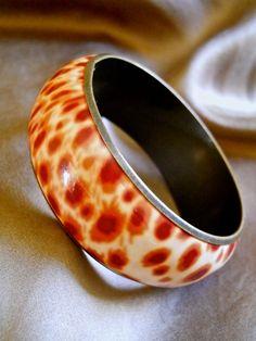Animal Print Bangle Bracelet Enamel Cheetah by RenaissanceFair