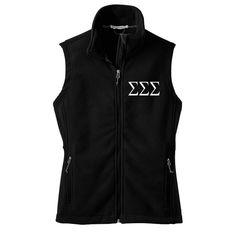 Sigma Sigma Sigma Fleece Vest Tri Sigma Zip by SororityLettersShop