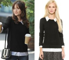 "Jess Day's black sweater with white collar and cuffs from New Girl episode ""Girl Fight"""