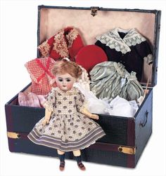 View Catalog Item - Theriault's Antique Doll Auctions - german bisque doll trunk and trousseau, 9""