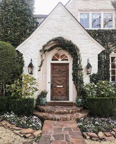 Love the Character in the Front Door of this Home. Love the Rock Path with the Curb Appeal! Great Home Exterior Design Room, Home Design, Design Ideas, Cute House, My House, Decoration Chic, House Goals, Home Fashion, Style At Home