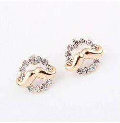 Gold Cute Mustache Rhinestones Fashion Stud Earrings Cheap Unique Jewelry for Girl