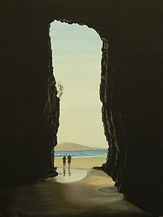 Catlins South Island New Zealand - Cathedral Caves (acrylic) by Ruth Reid