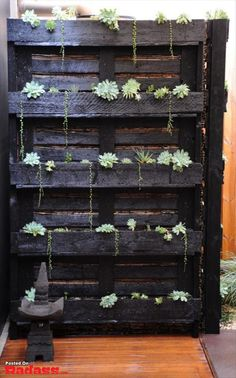 Hmmm. Maybe not painted black, but I like this use of pallets.