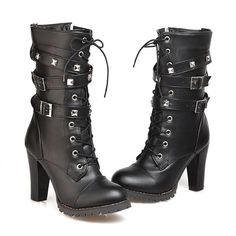 871207f4 Women's Mid Calf Leather Boots High Heel Lace Up Military Buckle Motorcycle  Cowboy Plus Size 34