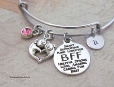BFF Two Pigs Personalized Hand Stamped Initial Birthstone Stainless Steel Pig Heart Best Friend Expandable Bangle Bracelet Bff, Bangle Bracelets, Bangles, Light Amethyst, Birthstone Charms, Blue Zircon, Pigs, Peridot, Hand Stamped