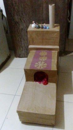 Fogão à lenha de caixa de papelão