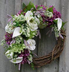 Summer Wreath, Victorian Garden Wreath, Designer Floral, Country French, Wedding Wreath