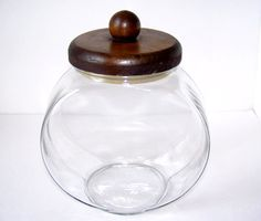 Large Farmhouse Glass and Wood Canister / by TeaAndHoneyVintage