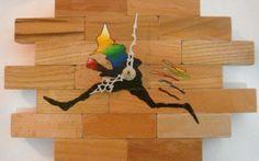 Orologio pinocchio - tempera e pirografia
