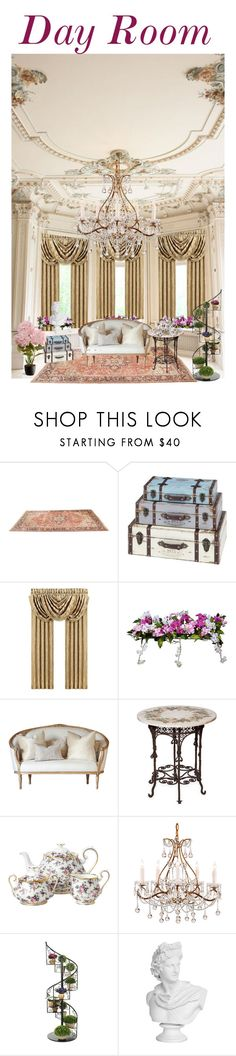 """""""Day Room"""" by jostockton ❤ liked on Polyvore featuring interior, interiors, interior design, home, home decor, interior decorating, J. Queen New York, Improvements, Royal Albert and National Tree Company"""