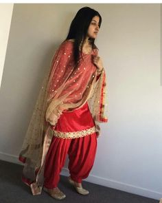 Red Punjabi Patiala salwar suit - with Golden Dupatta - unstitched dress material Set Salwar Designs, Patiala Suit Designs, Kurti Designs Party Wear, Designer Kurtis, Indian Designer Suits, Designer Sarees, Indian Suits Punjabi, Punjabi Dress, Patiala Salwar Suits