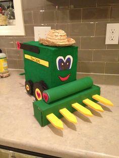 B's valentine's day box. John Deere tractor.