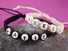 Personalised Hemp Bracelet Any Name or Wording with Letter Beads Beige/Black Handmade Friendship/Surfer Style