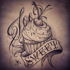 cupcake tattoo flash - Google Search