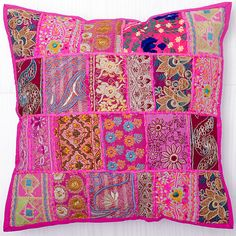 24x24 Indian Patchwork Pillow Cover Pink Bohemian by CraftAuraHome, $20.99