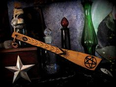 Cauldron Spoon with Inlay Gemstone & Pentagram Enchanted Wooden Mixer Copper Hook Witch's Apothecary Kitchen Tool with Pentacle HERB PESTLE by GypsyWiccan on Etsy https://www.etsy.com/listing/252295606/cauldron-spoon-with-inlay-gemstone