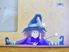 Halloween Witch Photo Frame Handpainted Frame by ToletallyPainted,