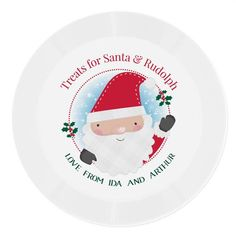 Personalised Plastic Plate - Treats for Santa & Rudolph Christmas Dinnerware, Christmas Plates, Santa Christmas, First Christmas, Christmas Treats, Wooden Toy Train, Personalized Plates, Mince Pies, Plastic Plates