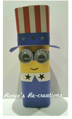 Uncle Sam Minion. 4th of July kids craft. Recycled Crystal Light Container, construction paper, Diet Coke bottle caps, googly eyes, star sequins.