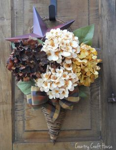 Fall Hydrangea Wall Baset  ~by Country Craft House
