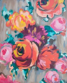 Artist: kristy gammill // orange and violet floral // 16×20 original acrylic on 1 1/2″ gallery wrapped canvas