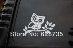 Free shipping Wholesale 6pcs/lot Owl on branch vinyl sticker decal car truck JDM SUV wall hoot wise cute tree ,s2008
