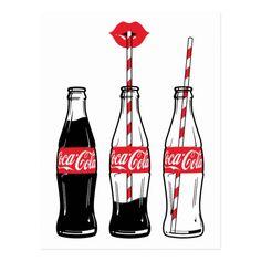 Coca-Cola Sipping On Coke Postcard Coca Cola Gifts, Coca Cola Shop, Coca Cola Bottles, Bottle Drawing, Bottle Painting, Coca Cola Wallpaper, Arte Do Mickey Mouse, Coca Cola Vintage, Pop Art