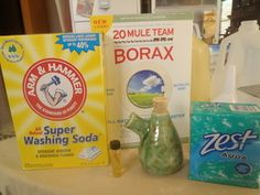 Mama Bee's homemade laundry detergent.  Add a couple of pebbles to the jug to make it easier to shake up when it's finished.