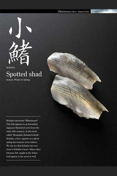 """Sushi-Spotted Shad Kohata represents """"Hikanimono"""".This fish apears in an Eaoushi(a Japanese illustrated novel from the early 19th century)"""