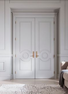 Create That Polished Glammed Up Look By Using Mouldings To Take Your Decorating To The Double Doors Interior Entrance Door Design Wood Doors Interior