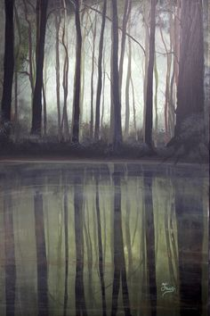 """Here is today's new Painting for 2018! This one is a study in the color """"O.D. Green"""" evidently! Army boys will know all about that color! The painting is 24"""" x 36"""", Acrylic and is titled """"Swamp Etoufee"""""""