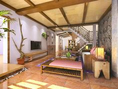 Beautiful Rustic Interior of Stairs and Living room 3D Model Download,Free 3D Models Download