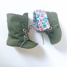 Baby Girl Boots Toddler Boots Soft Sole Boots Hipster Boots Baby Boots Green Boots Children's Boots Lace Up Boots Floral Boots- Averly
