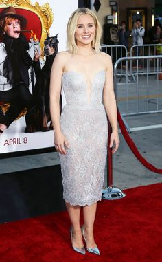 Kristen Bell from The Best of the Red Carpet  We love the frosty feel of this stunning silver Reem Acra cocktail dress.