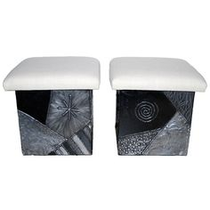"""Rare Paul Evans """"Argente"""" Stools with Silk Tops 