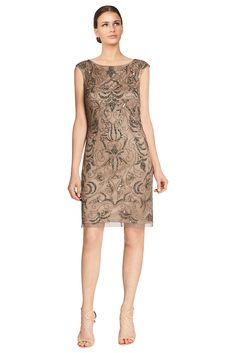 AmazonSmile: Adrianna Papell Beaded Cap Sleeve Shift Cocktail Evening Dress: Clothing