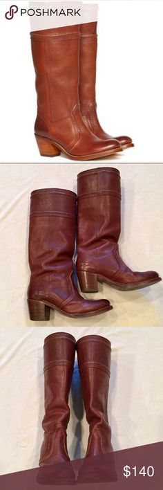 """Frye Boots Frye Jane boots, Excellent condition, lightly worn for 1 season, the shaft is too high for me, hits me just under the knee. Cognac color, stacked 2 inch heel, shaft 16,5"""".  These are awesome boots, I ordered a different pair online :). Frye Shoes Heeled Boots"""