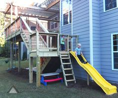 Pressure-treated deck with copper pickets. Children's play area incorporated into the design. Built by Atlanta Decking & Fence. Backyard Playground, Backyard For Kids, Backyard Ideas, Sloped Backyard, Playground Ideas, Patio Ideas, Kids Play Spaces, Kids Play Area, Deck Slide