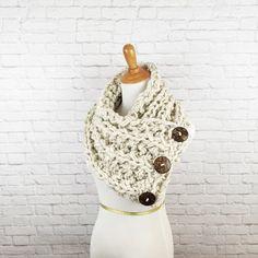 Blanket Scarf Knit Button Scarf Chunky by OliveandArrowKnits