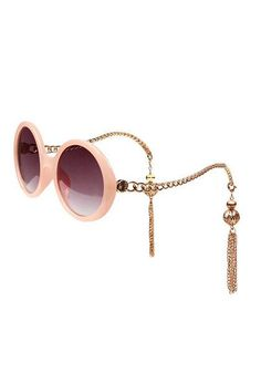 Pink Bead Fringe Chain Arms Round Sunglasses - Choies.com