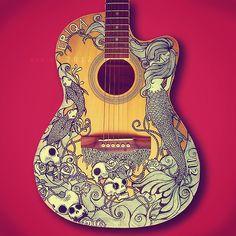 eatsleepdraw:    Guitar art by Manje