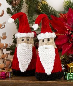 Santa Gnome Ornaments in Red Heart Super Saver Economy Solids - Discover more Patterns by Red Heart Yarns at LoveKnitting. The world& largest range of knitting supplies - we stock patterns, yarn, needles and books from all of your favorite brands. Knitted Christmas Decorations, Knit Christmas Ornaments, Gnome Ornaments, Holiday Decorations, Crochet Christmas, Crochet Santa, Christmas Gnome, Christmas Projects, Christmas Knitting Patterns
