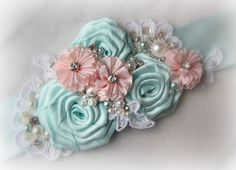 Aqua and Pink Sash Pale Aqua Bridal Sash Blush by TheRedMagnolia Fabric Flower Headbands, Baby Headbands, Fabric Flowers, Blue Cotton Candy, Blush Pink Weddings, Aqua Wedding, Wedding Belts, Wedding Sash, Fabric Brooch
